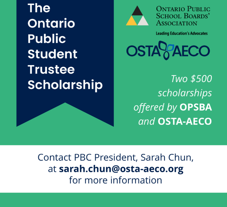 OPSBA and OSTA-AECO announce winners of the Ontario Public Student Trustee Scholarship